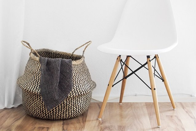 natural laundry basket with liner